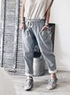 Blue Cotton-Blend Drawstring Striped Pants