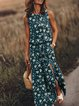 Blue Crew Neck Floral Casual Sleeveless Dresses
