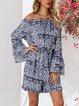Blue Tribal Cotton-Blend Boho Off Shoulder Suits