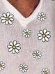 Loose casual v-neck short-sleeved daisy print T-shirt