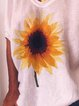 Loose casual sunflower print short sleeve round neck T-shirt