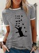 Printed Cotton-Blend Crew Neck Casual Shirts & Tops