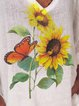 Loose casual v-neck short sleeve sunflower print T-shirt