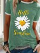 Green Cotton Round Neck Printed Casual Shirts & Tops