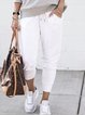 White Pockets Solid Cotton Casual Pants