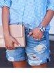 Blue Cotton-Blend Brushed Holiday Pants