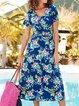 Floral Midi Dress Plus Size Women Summer Dresses