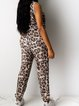 Leopard Printed Lace-Up Sleeveless Pockets Jumpsuits