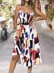 Square Neck  A-Line Printed Geometric Midi Dress