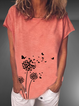 Casual Round Neck Cotton-Blend Shirts & Tops