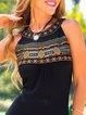 Vintage Boho Geometric Floral Plus Size Sleeveless Casual Dresses