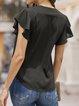 Solid V Neck Shift Short Sleeve  Daily Blouse