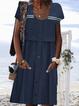 Paneled Crew Neck Casual Cotton-Blend Dresses