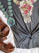 Short Sleeve Printed Crew Neck  Shirts & Tops