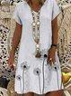 Casual vintage dandelion printed short-sleeved V-neck dress