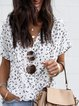 Leopard Printed Short Sleeve Casual V-neck Blouse