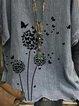 Casual vintage dandelion printed loose top