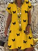 Casual vintage butterfly print V-neck short sleeve dress