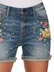 Holiday Embroidered Floral Denim Pants