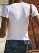 White V Neck Short Sleeve Cotton Shirts & Tops