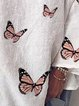 Casual loose vintage butterfly print thin top