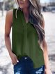 Plain Sleeveless V Neck Shirts & Tops