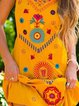 Vintage Sleeveless Boho Floral Geometric Plus Size Casual Dresses
