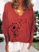 Cotton-Blend Round Neck Plants Long Sleeve Shirts & Tops