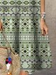 Women Kaftan Square Neck Printed Casual Summer Dresses
