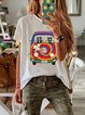 White Casual Patchwork Round Neck Shirts & Tops