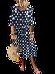 Purplish Blue Polka Dots Casual A-Line Dresses