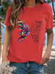 Short Sleeve Casual Round Neck Animal Shirts & Tops