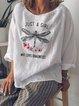 Silk-Organza 3/4 Sleeve Round Neck Printed Shirts & Tops
