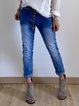 Blue Casual Denim Plain Buttoned Pants