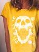 Yellow Short Sleeve V Neck Casual Shirts & Tops