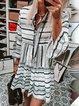 Women Kaftan Striped 3/4 Frill Sleeves Summer Dresses