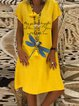 Yellow Casual Printed Short Sleeve Dresses