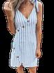 Stripe-Blue Sleeveless Cotton-Blend Shirts & Tops