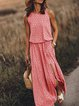 Sleeveless Cotton-Blend Round Neck Casual Dresses