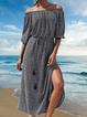 Floral dress off-shoulder slit dress