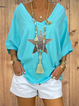 V Neck Cotton-Blend Vintage Short Sleeve Shirts & Tops