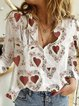 White Casual Cotton Printed Shirts & Tops