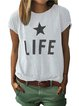 Gray Letter Floral-Print Casual Cotton-Blend Shirts & Tops