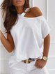 White Long Sleeve Solid Round Neck Shirts & Tops