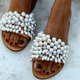 White Summer Leather Slippers