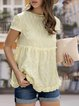 Casual Short Sleeve Solid Gathered Shirts & Tops