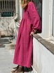 Women Caftan V-Neck Casual Solid Linen Dresses