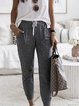 Gray Cotton-Blend Casual Pants