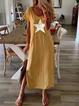 Yellow Short Sleeve Crew Neck Star Dresses