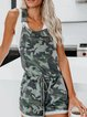 Army Green Round Neck Pockets Casual One-Pieces
